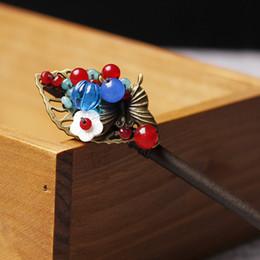 horquillas de mariposa vintage Rebajas Antiguo viento chino naturaleza piedras hoja horquilla, calcedonia mariposa étnica accesorios para el cabello, vintage clásico palo C19010501