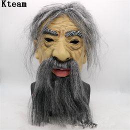 2019 máscara dos homens velhos Máscara de látex realista homem velho masculino disfarce Halloween pessoas Fancy Dress Adult Head Horror Mask desconto máscara dos homens velhos