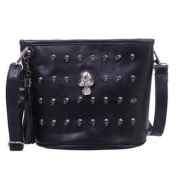 Sacchetto di messaggero nero della ragazza online-Nuovo Retro Skull Design Donna Messenger Borse a spalla Borse a tracolla Satchel Clutch Girl Black Fashion Crossbody Bag bolsas borse