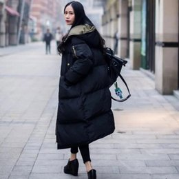 2019 xs mujer abrigo largo coreano 2019 Nueva versión coreana Plus Size Coat Women Color sólido Winter Warm Hoodies Down cotton Long Coat Women cc690 xs mujer abrigo largo coreano baratos