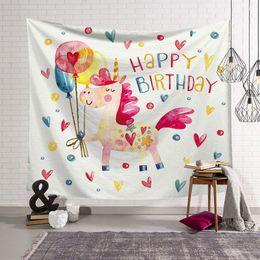 Tapeçaria psicodélica dos desenhos animados unicórnio crianças criança quarto decoração de aniversário moda pano de parede pendurado decoração da casa de fazenda dormitório de