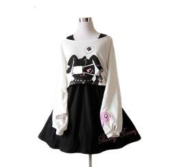 2019 trajes indianos americanos Vestido De Coelho Em Quadrinhos negros Adolescentes Meninas 2 Pcs Terno Doce Vestido de Algodão Curto Bonito Coelho Imprimir Mangas Compridas Japonês Lolita