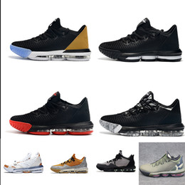 c4c20cf9baff Cheap mens lebron 16 low basketball shoes for sale Black Gold Tan Red White  Grey Multi youth kids new lebrons sneakers with box size 7 12