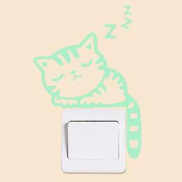 Fluoreszenzschalter online-Abziehbilder Tiere Wohnkultur Wandaufkleber Luminous Cartoon Cat Glow Switch Fluorescent Kinderzimmer