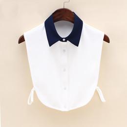 Wholesale Colletto in camicetta mezza manica staccabile nera con colletto bianco e nera