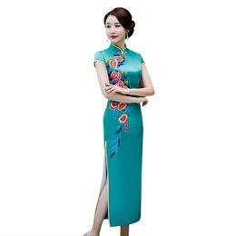 Голубой мандарин онлайн-Lake Blue Vintage Chinese Style Qipao Long Handmade Button Cheongsam Dress Women's Mandarin Collar Traditional Dress Size M-3XL