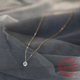 Zarte schlüsselbeinhalskette online-zarte 6 mm cz Charm Roségold Kette Halskette für Mädchen echte 925 Sterling Silber Schlüsselbein Kette Halskette Schmuck Großhandel