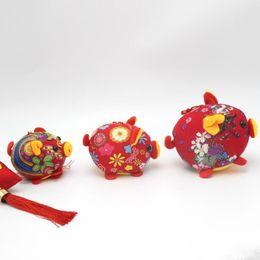 Brinquedos chineses de pelúcia on-line-Doméstico Macio Brinquedo Mascote Nó Chinês Flor Animal Pig Plush Pingente Para Crianças Dos Miúdos Boneca Direta Da Fábrica