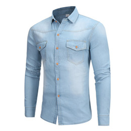 08f9604bf87 New Denim Shirt Men Brand Design Long Sleeve Mens Shirts Casual Slim Fit  Cotton Chemise Homme Camisa Jeans Pocket Dress Shirt