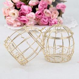 Cajas de dulces de metal de regalo de boda online-Favor de la boda del hierro Birdcage caramelo de la boda Creative Box metal del oro caja de la lata Europea romántico Festival regalo del partido Caso TTA2059-1