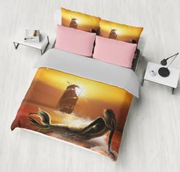 prinzessin bettwäsche setzt in voller größe Rabatt Sea-Maiden-Bettwäsche-Sets Princess-Stil Bettbezug Bettbezug Bettbezug Kopfkissenbezüge Twin Queen Queen-Size weiche Bettwäsche