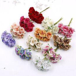 2019 fiore appeso artificiale giallo Bouquet di fiori artificiali Mini rose fiori finti per la casa auto matrimonio decorazione fai da te scrapbooking corona decorativa nuziale 6 pz / bouquet 2 cm