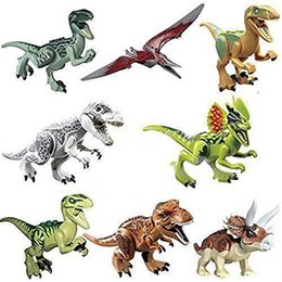8 шт. / Лот динозавров юрского периода рисунок фильм мир игрушек Diy строительные блоки устанавливает модель игрушки детские подарки от