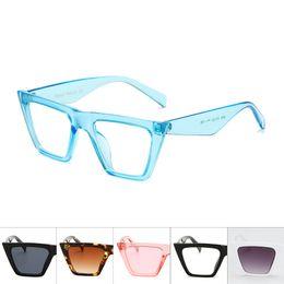 Argentina Marca Cuadrados Gafas de sol de gran tamaño Mujeres Flat Top Clear Blue Pink gafas de sol Hombres Vintage Big Frame Square Eyewear UV400 cheap blue square glasses Suministro