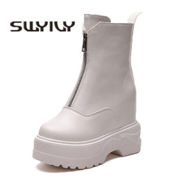 white wedge snow boots 2019 - SWYIVY Snow Boots Woman Front Zippers 2018  Winter Warm Female 81ef9a30fe11
