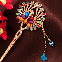 Bastões de cabelo de jade on-line-New Design Cabelo Vara Artificial jade Pavão de Cristal Colorido Chains Hairpin