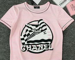 Canada T-shirt rayé rose de haute qualité de marque de designer de luxe spécial fait sur commande de chemises de modèle de voile pour femmes de mode hip-hop décontractée T-shirts sauvages cheap top sailing Offre