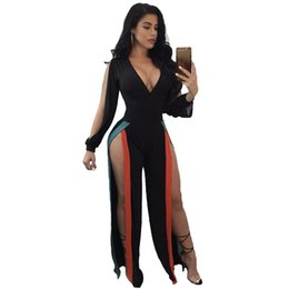 0ca0f9f788ce 2018 New Fashion Sexy Women Jumpsuit Stretchy Deep V Neck Colorful Stripes  Split Cut Out Long Sleeve Bodycon Clubwear Black