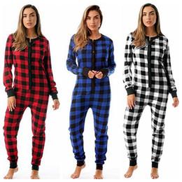Комбинезоны комбинезоны онлайн-Удобная Lattice Пижама Женщина плед комбинезона Sleepwear Пижама европейская и американских дамы домашней одежды Robe LJJA3242