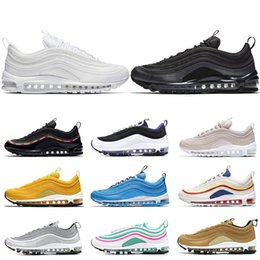more photos 13b7b 68567 nike air max 97 chaussures de course pour hommes femmes Triple blanc noir  Silver Bullet Metallic Gold héros bleu Grape SOUTH BEACH baskets de sport  pour ...