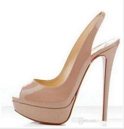 Marke nackte Farbe Fischmaul 14cm roter Boden High Heels, Frauen Luxus schwarz Lackleder Plattform Peep Toes Sandalen, glänzende Lederschuhe