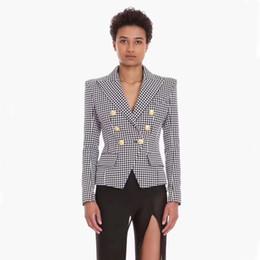 Двубортные рубашки онлайн-Balmain женщины пальто Balmain костюм Хаундстут двубортный тонкий рубашка дамы классический плед девушка тонкий костюм женский
