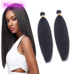 armadura recta rizada afro Rebajas Peruano 2 Bundles Kinky Straight Afro Yaki Virgin Extensiones de cabello humano Paquetes Armadura del cabello Sin procesar Peruano Kinky Straight