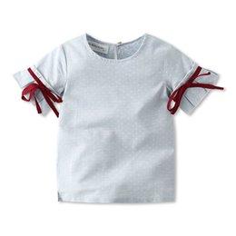 INS scherzt Entwerferkleidungs-Mädchenhemd Sommermädchen runder Kragen Kurzhülse Tupfenentwurfsmädchenhemdkinder, die freies Verschiffen kleiden von Fabrikanten