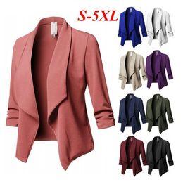 2019 casaco de trabalho bege Casacos de inverno mulheres longo Mulheres Moda Outono Inverno Jaquetas Curtas casaco Outwear Causal Tops Para Feminino