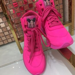 zapato de impresión de tela Rebajas la llegada de lujo Tech Fabric-Tops de las mujeres impresiones de la zapatilla de deporte de la letra en los zapatos de alta calidad respirable con cordones de los zapatos corrientes zapatos para caminar L25