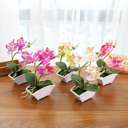 2019 künstliche blaue orchideen blumen Phalaenopsis Topf künstliche Orchidee Blume mit Schaum Blatt und Kunststoff Vase Simulation Blumendekoration für zu Hause Tisch 20 Set rabatt künstliche blaue orchideen blumen