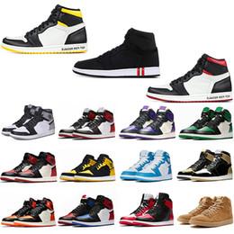 2019 Bahar 1 1 s Erkek Basketbol Ayakkabıları Yeniden Satılmaz Kırmızı Sarı paris saint alman Top 3 UNC Tasarımcı Spor Sneakers EUR 40-47 supplier basketball shoes springs nereden basketbol ayakkabıları yaylar tedarikçiler