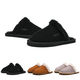 2019 sandalias de invierno zapatillas UGG Boots WGG Mujeres Diseñador Sandalias de Moda Sandalias de Plataforma Pisos de lujo Diapositivas Zapatillas Para Mujer Australia Invierno Botas Casual de Interior 36-41 sandalias de invierno zapatillas baratos