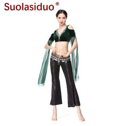 professional clothing style Promo Codes - Dark Green Professional Clothing Belly Dance Tribal Style Performance Clothing Suit Female Adult Belly Dance Costume Suit