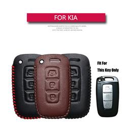 kia smart key remote Rebajas KUKAKEY de piel cubierta de la caja dominante del coche para KIA Sportage Optima Alma Azera Sorento 3 botones del control remoto Smart Key Accesorios bolsa de titular