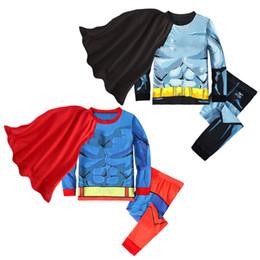 Capas super-heróis para crianças on-line-Crianças roupas de grife meninos Super hero outfits crianças capa + tops + calças 3 pçs / set 2019 Conjuntos de Roupas de bebê Primavera Outono C372