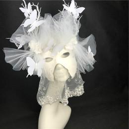 Máscara branca de veneza on-line-Veneza High-end White Branch Masquerade Máscara de Halloween Cosplay Partido Máscara Palco Passarela de Natal Exagerada Headwear