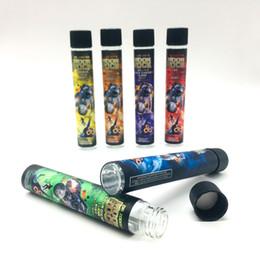 2019 adesivi ecig Fumare Ecig Dry Herb Vapor Pens Moonrock Tubo di vetro 120 * 20mm Permettere Customs Sticker Preroll Packaging Contenitore di vetro adesivi ecig economici