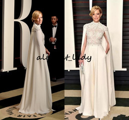 Elegante linha vermelha chiffon baile vestidos on-line-Elizabeth Banks Elegant High-Neck Chiffon Lace Evening Dresses with Wrap 2019 Custom Vintage Red Carpet Formal Prom Gowns
