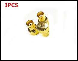 antena de cobre Rebajas 3PCS SMAJ / BNCK SMA Rotary BNC Madre Q9 Disco Interphone Handstand Antena Conjunta Alta calidad Cobre dorado