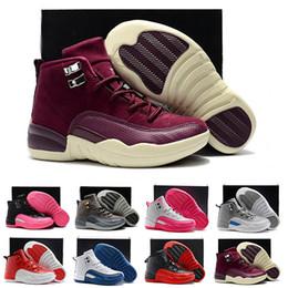 promo code c5eee fe47a kinder weiße tennisschuhe Rabatt Jungen Girs 12 12s Basketballschuhe Triple weiß  schwarz rosa Designer Kinder Sneaker