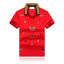 T-shirts pour hommes en Ligne-Nouvel été de l'été 19SS Designer T-shirt pour les hommes coléoptères caramel brodé revers Designer Polo T-shirt col jaune rayé
