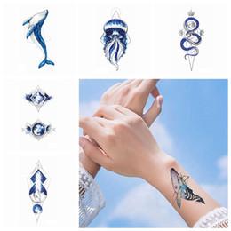 dio flash Sconti Autoadesivo impermeabile smontabile rimovibile HHA492 del tatuaggio di arte di modo della gamba del braccio del tatuaggio delle meduse geometriche del pianeta