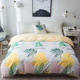 coperta gialla bianca Sconti Nuovo stile nordico bianco giallo foglia di banano copripiumino 1 pz copripiumino caso consolatore doppia completa matrimoniale king size