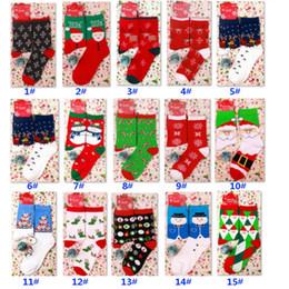 Calcetines de navidad alces rojos online-15 colores rojos de la Navidad calcetín de invierno de dibujos animados Elk ciervos calcetines de algodón para las mujeres de los hombres Mantener Caliente chica del bebé Calcetines Año Nuevo DHL HH9-2558 suave