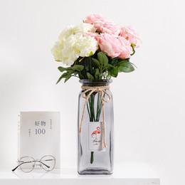 Vasi di bambù online-Nuovo vaso di vetro creativo Vaso di fiori trasparente Manufatti per l'arredamento Fiore di bambù fortunato Artigianato Attuare decorazione della casa in stile nordico