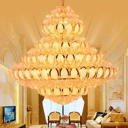 2019 lâmpada flor de lótus LED Modernas Lustres de Cristal Luminária Lustre de Ouro Americano Dourado Flor De Lótus Templo Lamp Home Villa Hotel Lobby Grande Droplight desconto lâmpada flor de lótus