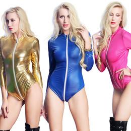 freie frau bondage dessous Rabatt Sexy Kunstleder Catsuit Kleid Frauen Nachtclub Pole Dance Wear Latex Fetisch PVC Fantasien Erotic Products EX606