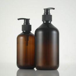 plastiche ambra Sconti 10 OZ 16 OZ Bottiglie di plastica ambrate con pompe per lozione per shampoo per sapone da giardino BPA Free 300ml 500ml P165