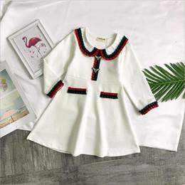 Nueva ropa de gama alta online-Las chicas de gama alta más vendidas visten la primavera 2019 nuevas prendas para niños niñas algodón romano vestido de manga larga vestidos de alta gama para niños